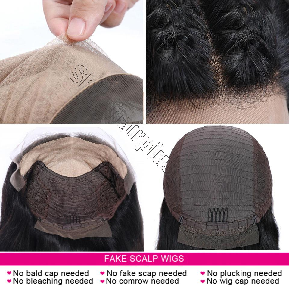 9A 150% Fake Scalp 13*4 13*6 Lace Wig, Preplucked Invisible Glueless Human Hair Wig 4