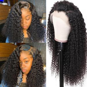 9A Fake Scalp Curly Wigs , 13x4 Invisible Glueless Permade Curly Lace Front Wig 150% Densit