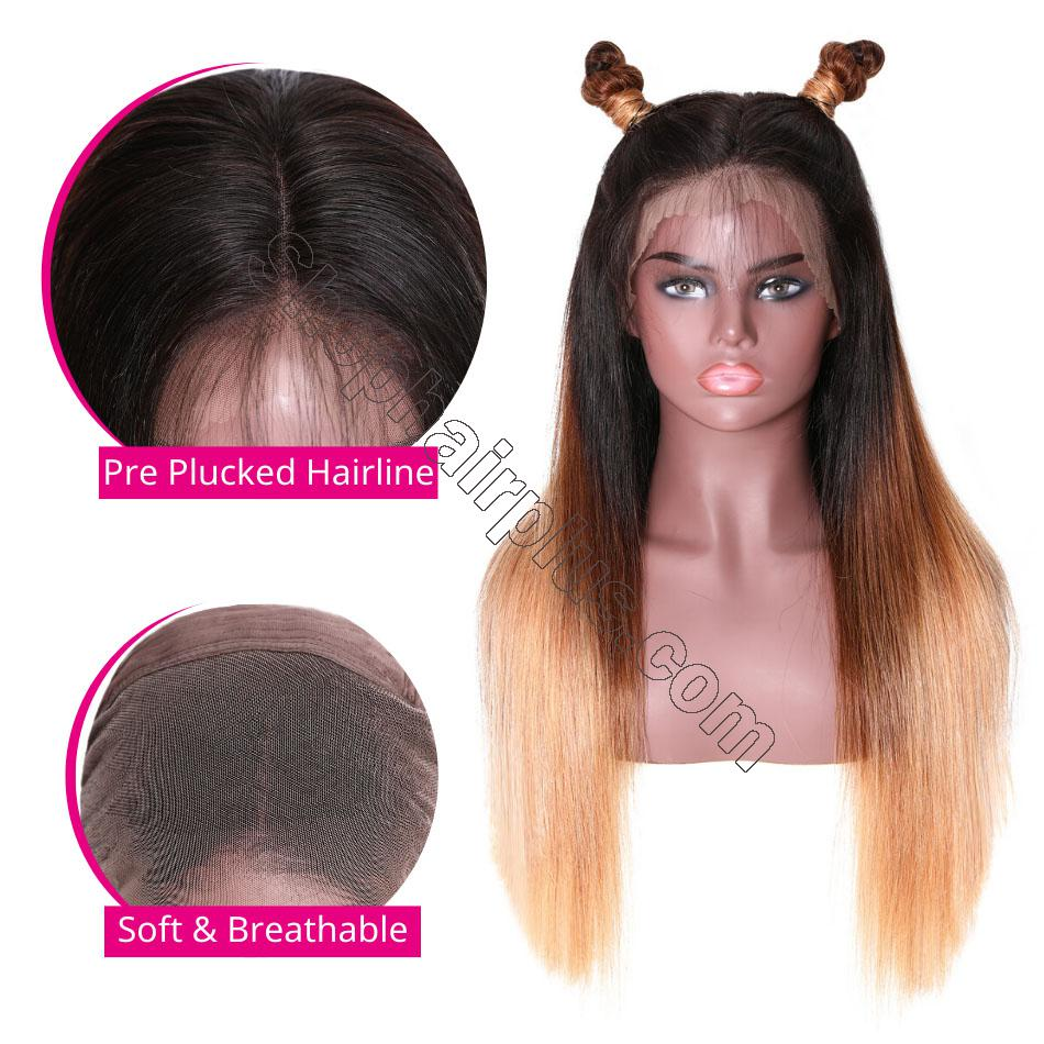 9A Glueless Ombre Color Long Silky Straight Lace Frontal Wigs High Density Remy Hair Lace Wigs For Women T4/27 Color 2