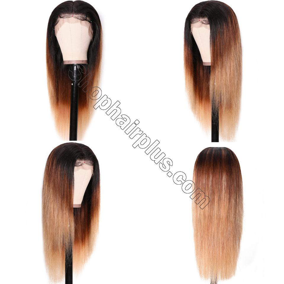 9A Glueless Ombre Color Long Silky Straight Lace Frontal Wigs High Density Remy Hair Lace Wigs For Women T4/27 Color 3