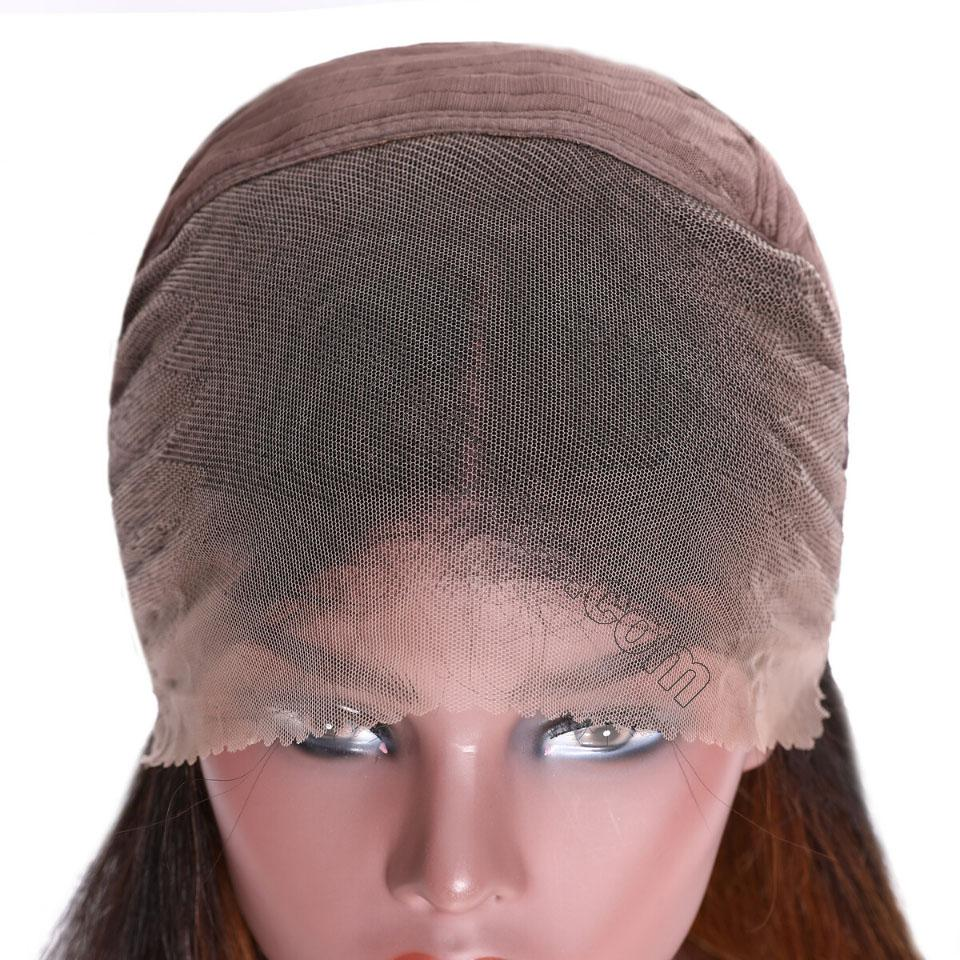 9A Glueless Ombre Color Long Silky Straight Lace Frontal Wigs High Density Remy Hair Lace Wigs For Women T4/27 Color 7