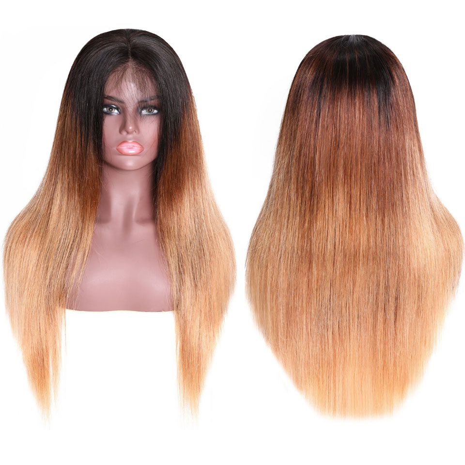 9A Glueless Ombre Color Long Silky Straight Lace Frontal Wigs High Density Remy Hair Lace Wigs For Women T4/27 Color 10