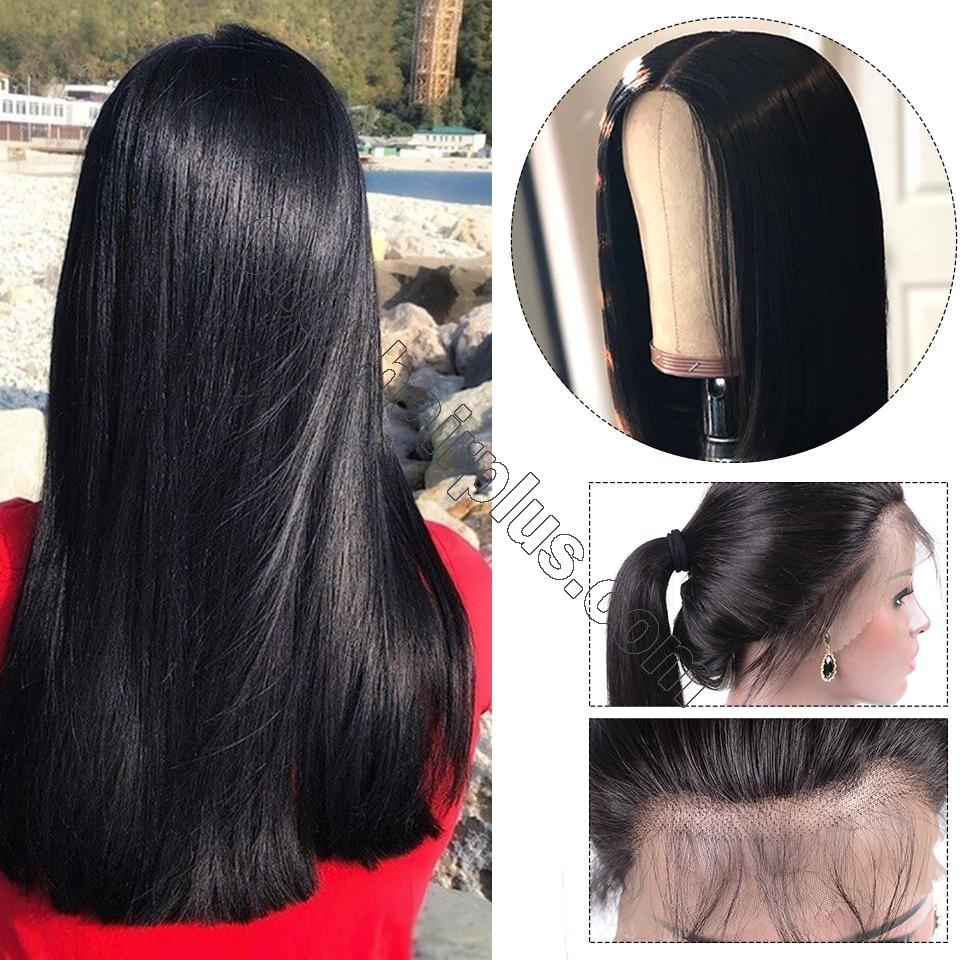 9A Grade 13*4/13*6/360 Lace Front Silky Straight Human Hair Wig, 180%/150% Densit 4
