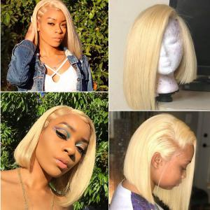 9A Grade 13*4/13*6 613 Blonde Bob Lace Front Wig, 150% Densit