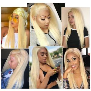9A Grade 613 Blonde Silky Straight Lace Front Human Hair Wig, 150% Densit