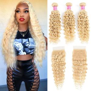 9A Grade 613 Deep Wave Bundles with Closure Free Part Blonde Color Virgin Human Hair