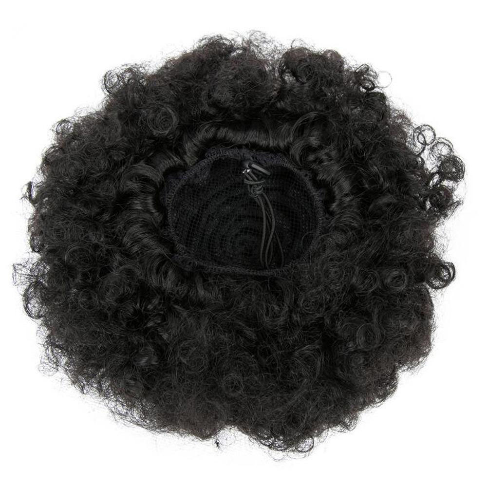 9A Human Hair Kinky Curly Afro Puff Adjustable Drawstring Ponytail With Clips Remy Curly Bun Extensions For Women 3