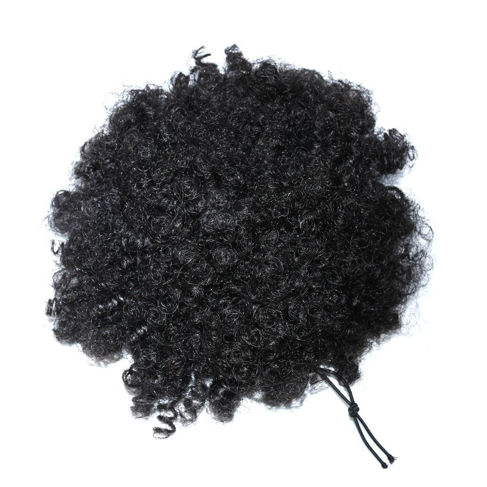 9A Human Hair Kinky Curly Afro Puff Adjustable Drawstring Ponytail With Clips Remy Curly Bun Extensions For Women 5