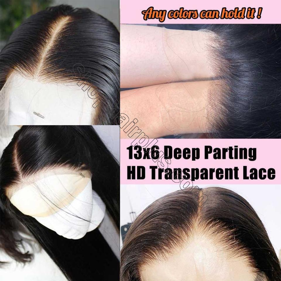 9A Invisible Lace Straight Hair Human Hair Wigs 150%/180% Density Lace Front Wigs Pre Plucked 9