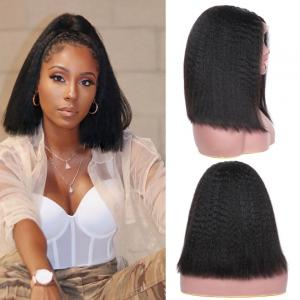 9A Kinky Straight Short Bob Wigs Free Part Brazilian Straight Hair Yaki Straight Lace Front Bob Wigs 130% & 150% Densit