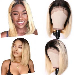 9A Ombre 613 Lace Front Bob Wigs Brazilian Straight Hair T1b/613 Dark Roots Lace Wigs High Density Blunt Cut Human Hair Wigs