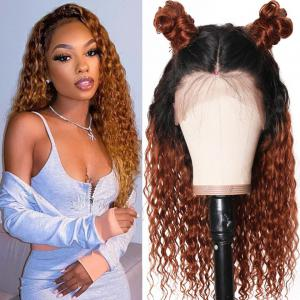 9A Ombre Color Curly Lace Front Wigs T1B/30 Curly Human Hair Wigs Preplucked 13x4 Lace Frontal Curly Wigs Natural Hairline 150% Densit