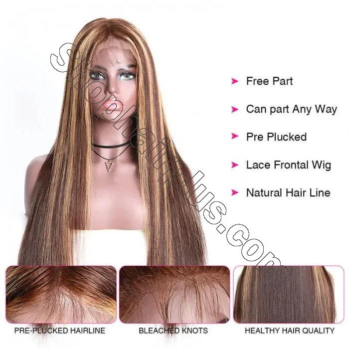9A Ombre Color Straight Hair Lace Front Wigs With Baby Hair 150% Density TL412 Human Hair Wigs 2