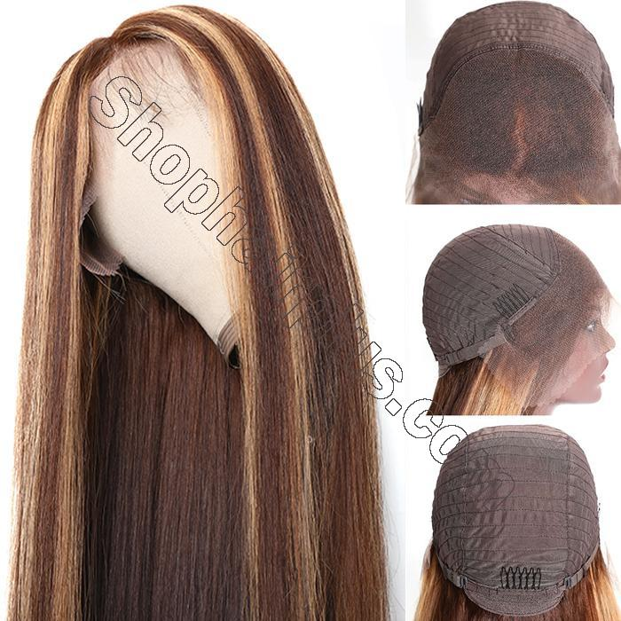 9A Ombre Color Straight Hair Lace Front Wigs With Baby Hair 150% Density TL412 Human Hair Wigs 3