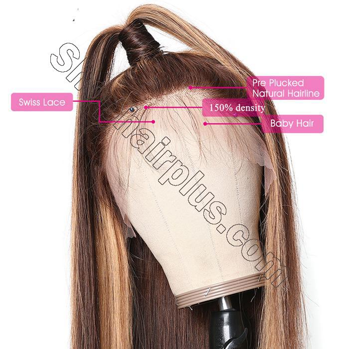 9A Ombre Color Straight Hair Lace Front Wigs With Baby Hair 150% Density TL412 Human Hair Wigs 4