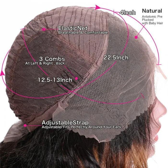 9A Ombre Color Straight Hair Lace Front Wigs With Baby Hair 150% Density TL412 Human Hair Wigs 6
