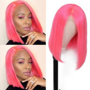 9A Pink Straight Bob Wig 13*4 Lace Frontal Short Bob Wig, 100% Virigin Human Hair Wig, 8-14inch Available