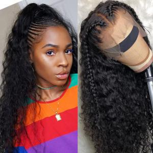 9A Pre Made Invisable Fake Scalp Curly Wig , 13x6 Deep Parting Curly Lace Front Wig 150% Densit