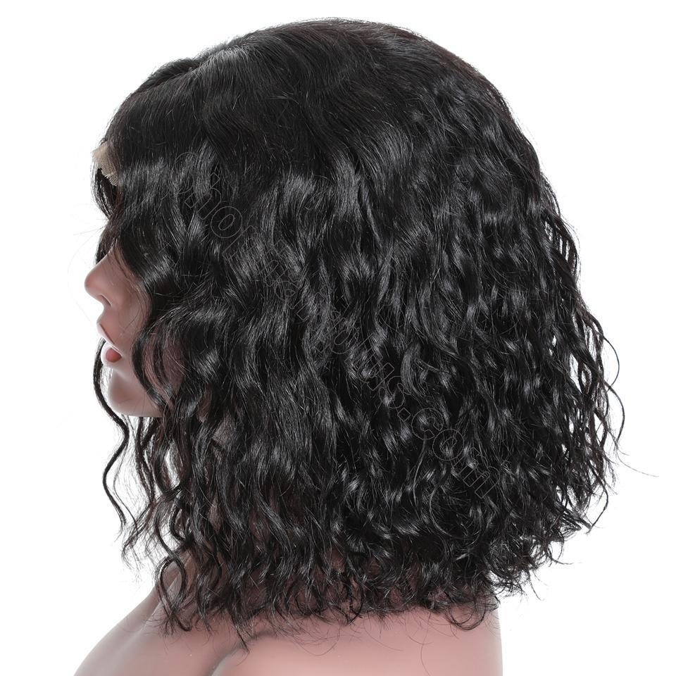 9A Short Water Wave Bob Curly Wig, 13*4 Lace Front Human Hair Wig, 150%/180% Densit 4