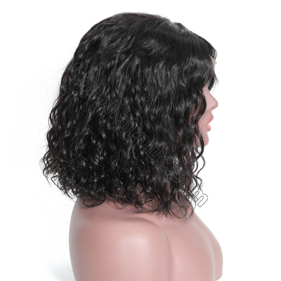 9A Short Water Wave Bob Curly Wig, 13*4 Lace Front Human Hair Wig, 150%/180% Densit 5