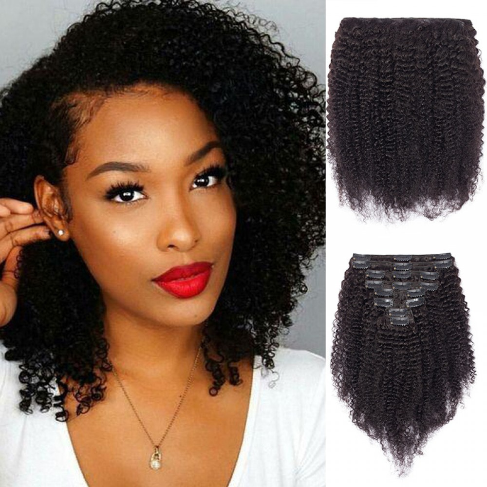Afro Kinky Curly 8 Pcs Clip In Remy Human Hair Extensions 8