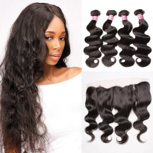 Brazilian Body Wave Virgin Hair 4 Bundles with Frontal Closure Natural Color