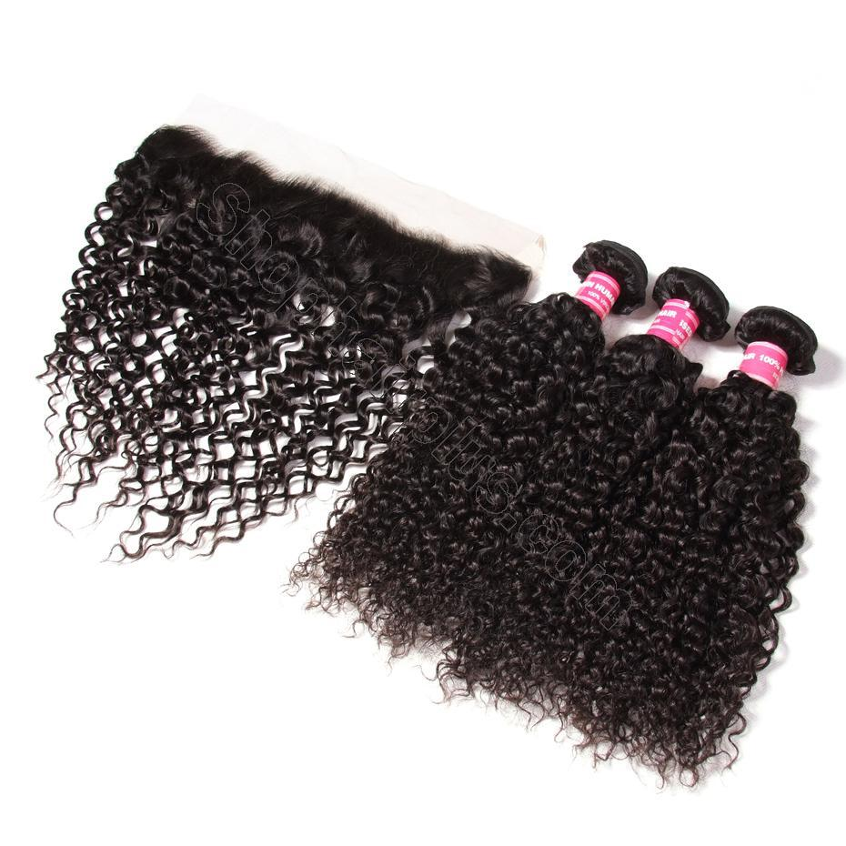 Brazilian Curly Hair 13x4 Lace Frontal With Bundles 3Pcs/Pack 7