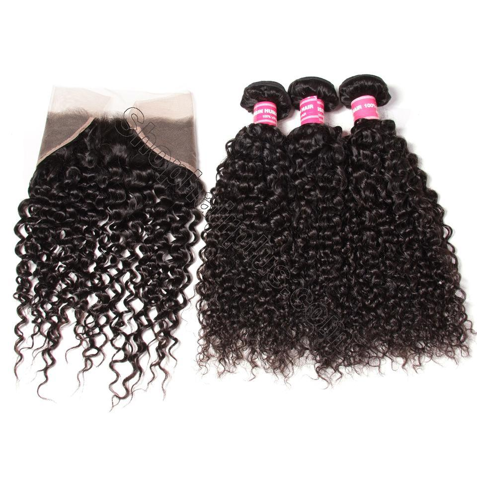Brazilian Curly Hair 13x4 Lace Frontal With Bundles 3Pcs/Pack 10