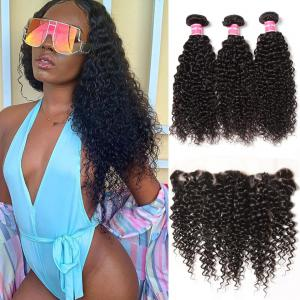 Brazilian Curly Hair 13x4 Lace Frontal With Bundles 3Pcs/Pack