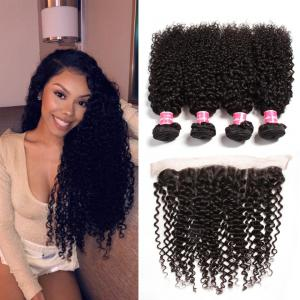 Brazilian Curly Hair Free Part 13x4 Lace Frontal Closure With 4Bundles Curly Hair Bundles