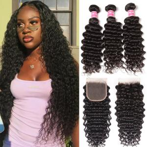 Brazilian Deep Wave 3 Bundles with 4*4 Lace Closure. 100% Virgin Human Hair Weaves on Sale