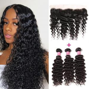 Brazilian Deep Wave 3 Bundles with Lace Frontal Closure, 13*4 Ear to Ear, 100% Virgin Hair-