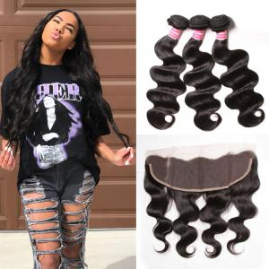 Brazilian Virgin Body Wave Hair 3 Bundles With Lace Frontal Hair Closure