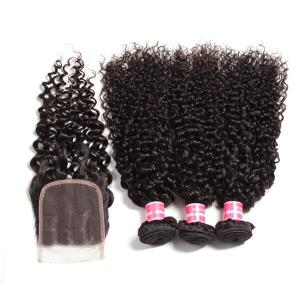 Brazilian Virgin Curly Hair 3 Bundles With 4*4 Lace Closure, Unprocessed Human Hair Extension