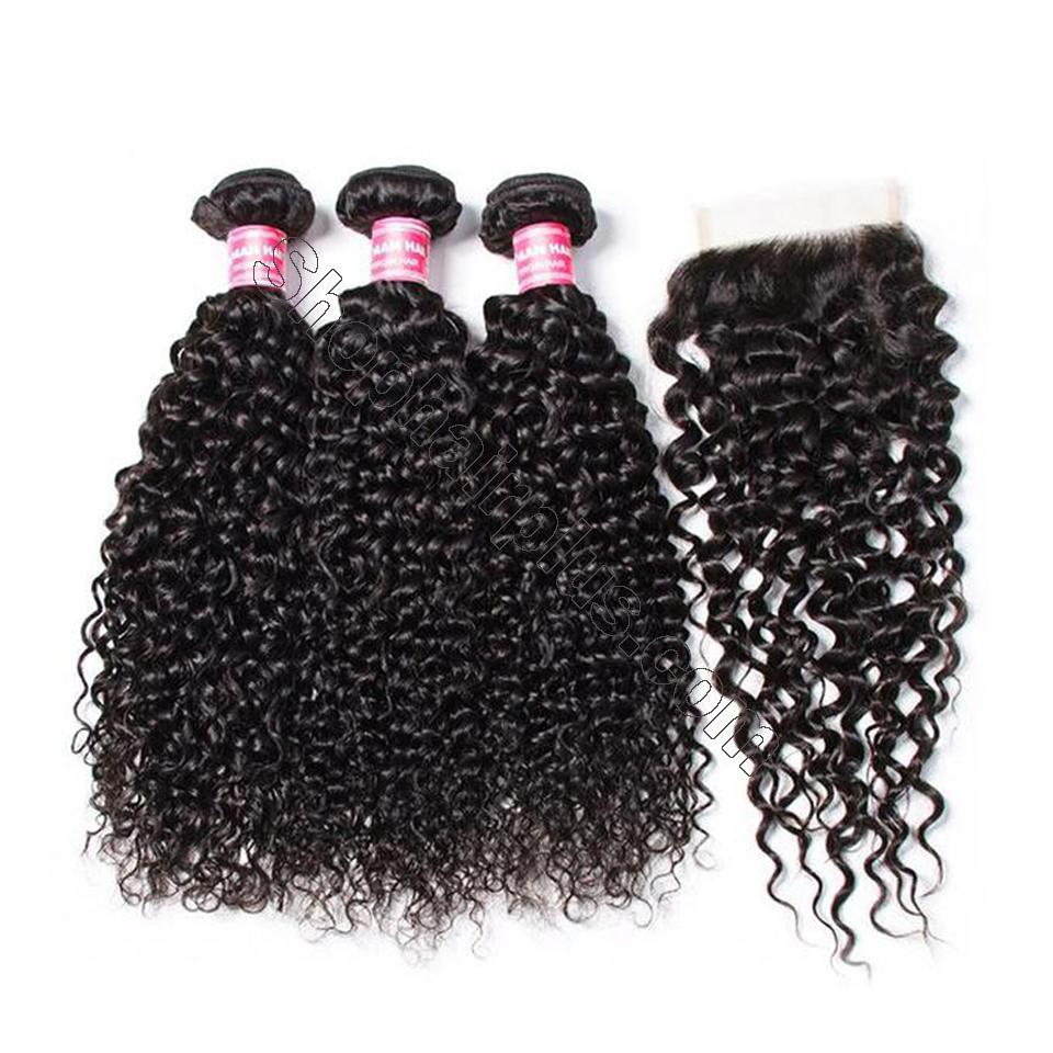 Brazilian Virgin Curly Hair 3 Bundles With 4*4 Lace Closure, Unprocessed Human Hair Extension-Klaiyi Hair 2