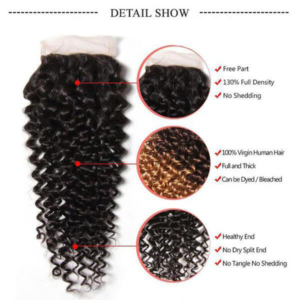 Brazilian Virgin Curly Hair 3 Bundles With 4*4 Lace Closure, Unprocessed Human Hair Extension-Klaiyi Hair 4