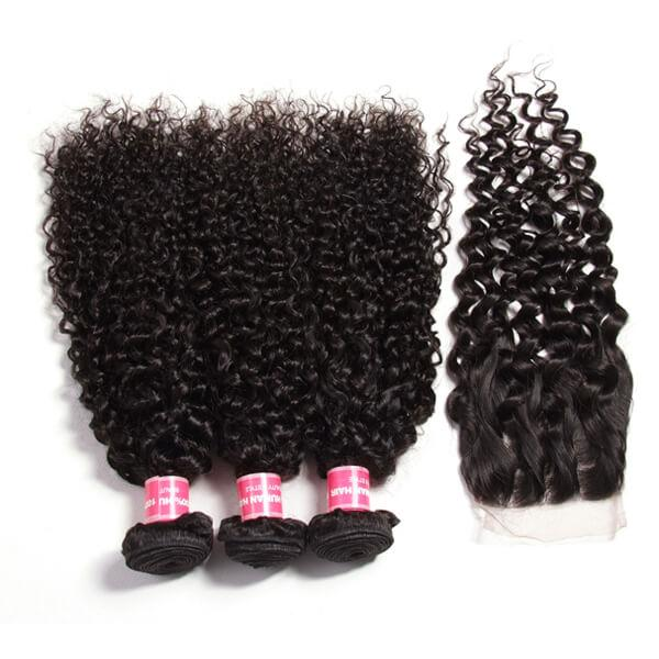 Brazilian Virgin Curly Hair 3 Bundles With 4*4 Lace Closure, Unprocessed Human Hair Extension-Klaiyi Hair 8