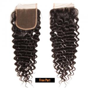 Brazilian Virgin Hair Deep Wave 4*4 Lace Closure Free Part Middle Part 100% Human Hair Closure