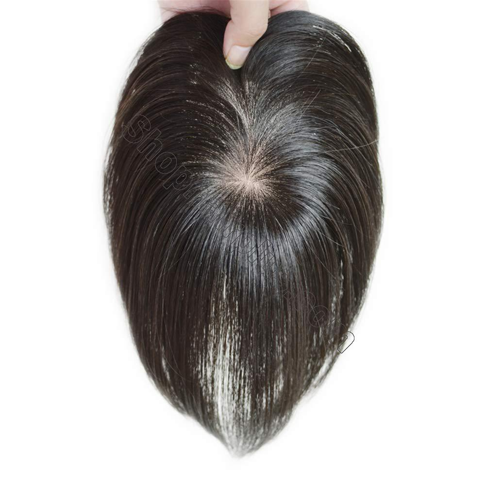 """Clip in Human Hair Top Hairpieces for Adding Hair Volume Instantly, Womens 4.7"""" x 4.7"""" Mono Crown Topper Hairpieces 2"""