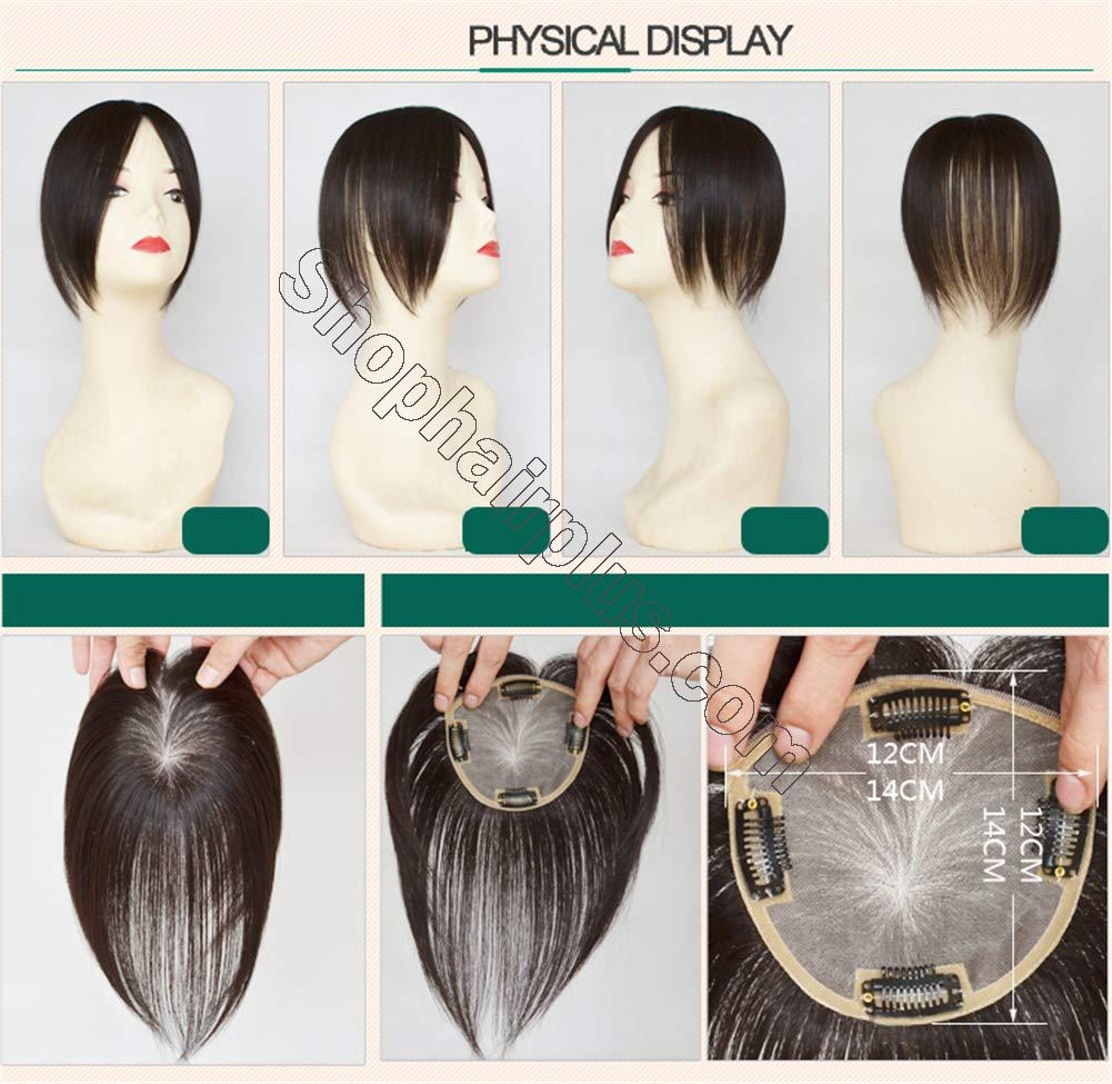 """Clip in Human Hair Top Hairpieces for Adding Hair Volume Instantly, Womens 4.7"""" x 4.7"""" Mono Crown Topper Hairpieces 3"""