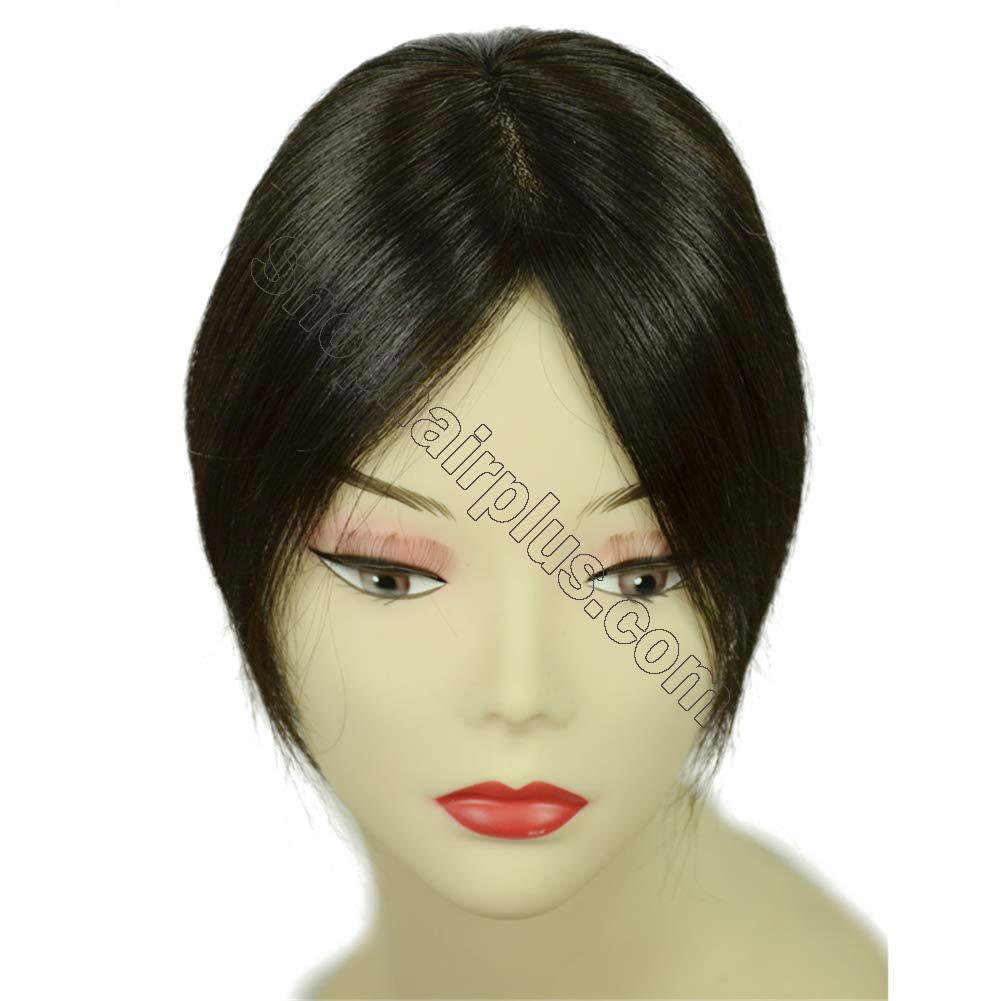 """Clip in Human Hair Top Hairpieces for Adding Hair Volume Instantly, Womens 4.7"""" x 4.7"""" Mono Crown Topper Hairpieces 4"""