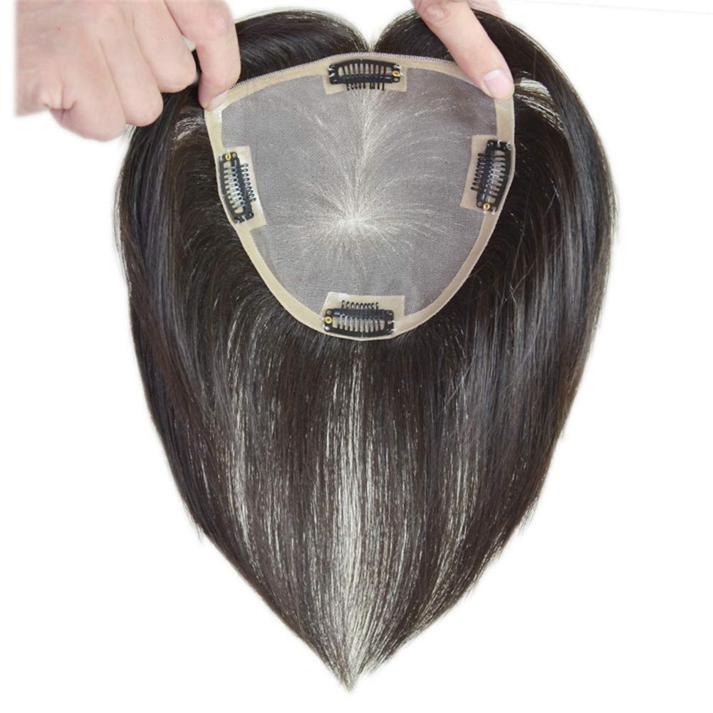 """Clip in Human Hair Top Hairpieces for Adding Hair Volume Instantly, Womens 4.7"""" x 4.7"""" Mono Crown Topper Hairpieces 6"""