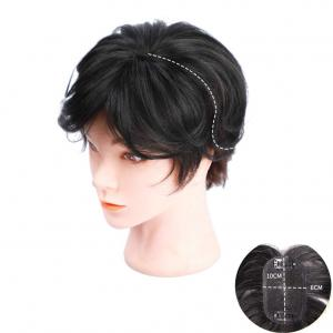 "Clips on Human Hair Top Wiglet Hairpiece for Women, Natural Black Hair Topper with 2.7""x4.7"" Black Mono Filament"