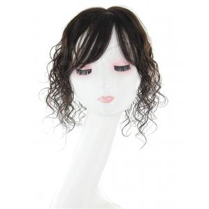 Curly Human Hair Crown Topper Hair Piece with Bangs, Hand Made Mono Topper Wiglet Hairpiece for Women with Thinning Hair