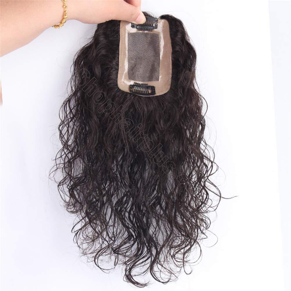 Curly Human Hair Mono Toppers for Women with Thinning Hair, Free Parting Top Mono Wiglet Hairpieces Toupee Clip in 2