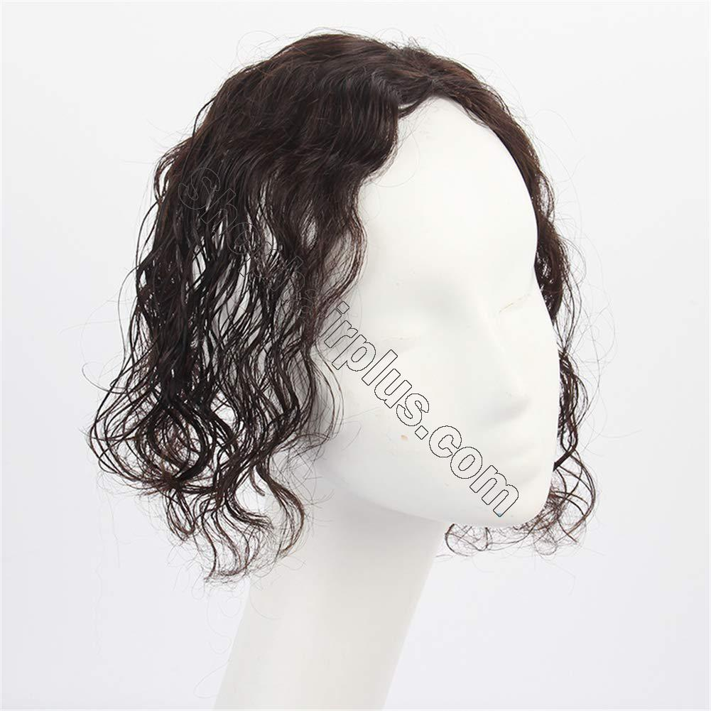 Curly Human Hair Mono Toppers for Women with Thinning Hair, Free Parting Top Mono Wiglet Hairpieces Toupee Clip in 3