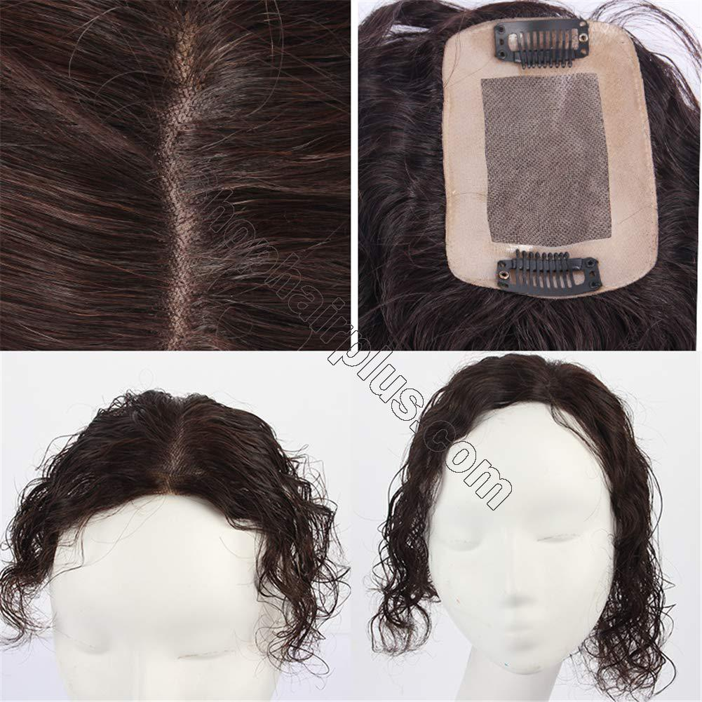 Curly Human Hair Mono Toppers for Women with Thinning Hair, Free Parting Top Mono Wiglet Hairpieces Toupee Clip in 4