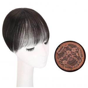 "Female Human Hair Bang Topper Clip in Invisible Hair Toppers Hairpiece with 4""x4"" Round Base"