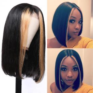 FLASH SALE: 9A Grade Brazilian Straight Bob Wig with Highlight 13×4 Short Human Hair Lace Front Wigs 130% Densit