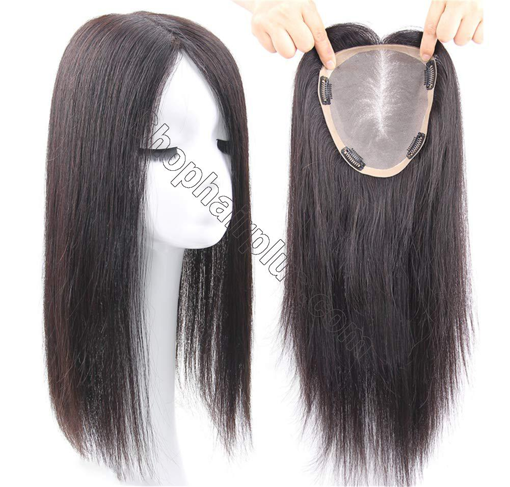 """Free Parting Human Hair Clip in Toppers for Women, 6""""x 6.7"""" Large Mono Crown Topper Hairpieces for Thinning Hair 2"""